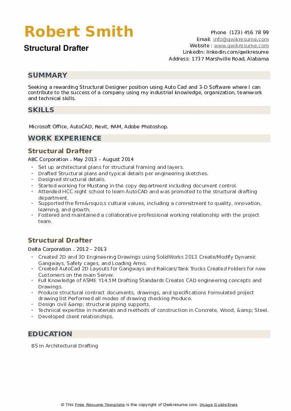 Structural Drafter Resume example