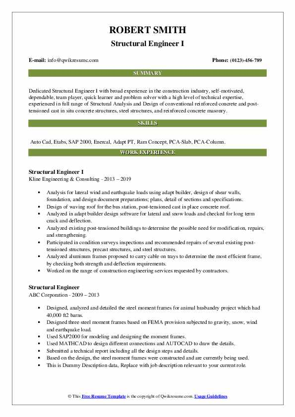 structural engineer resume samples