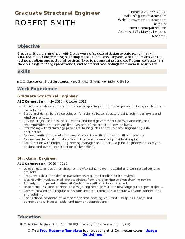 structural engineer resume samples