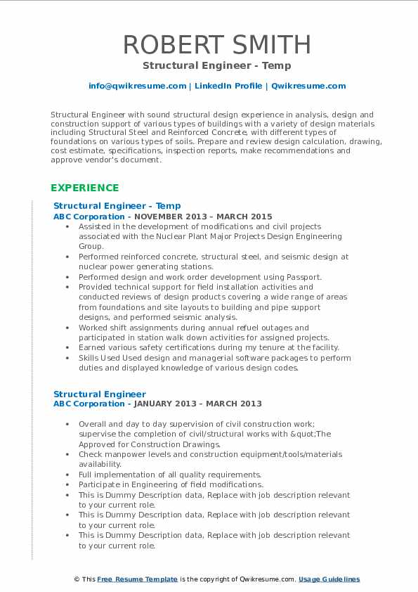 Structural Engineer Resume Samples Qwikresume