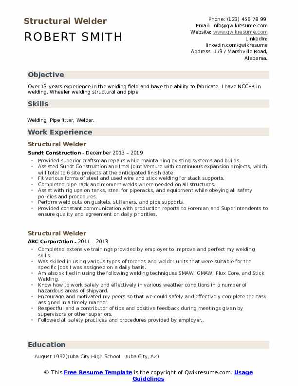 Structural Welder Resume Example
