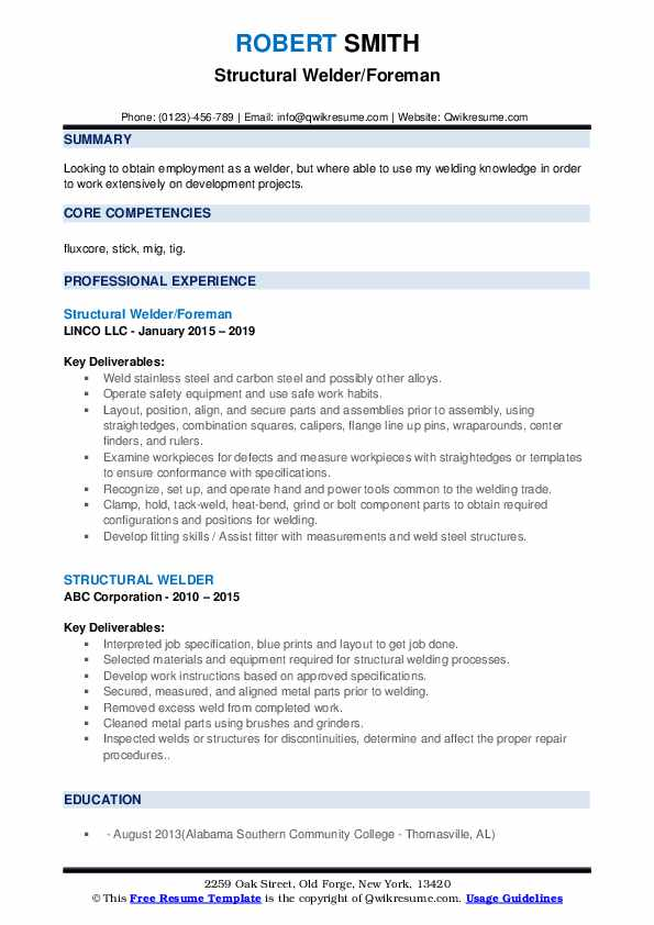 Structural Welder/Foreman Resume Sample