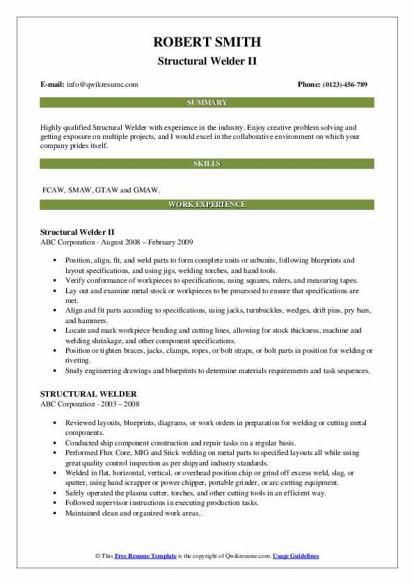 Structural Welder II Resume Template