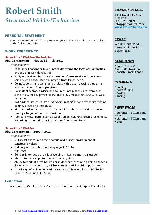 Structural Welder/Technician Resume Sample