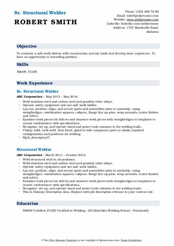 Sr. Structural Welder Resume Model