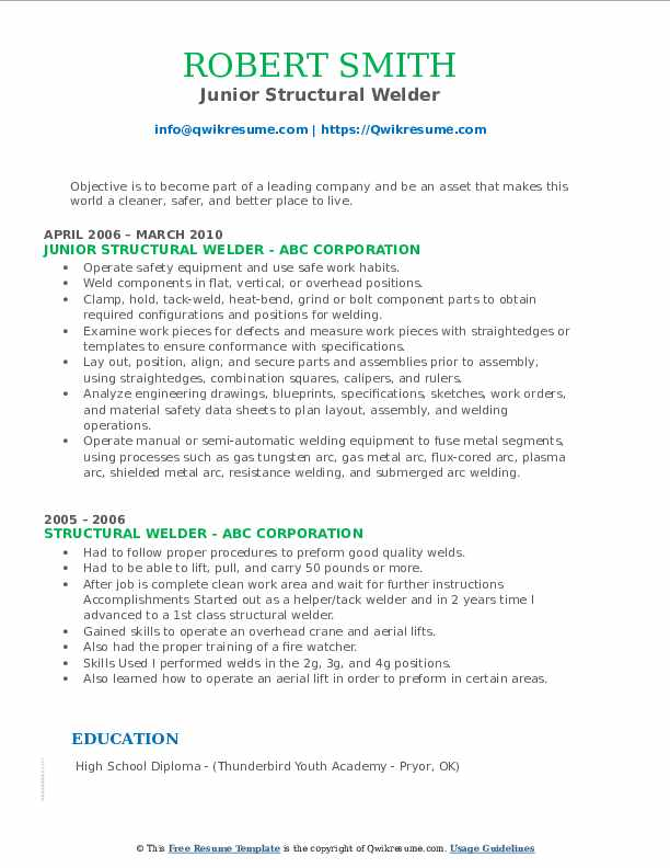 Junior Structural Welder Resume Format