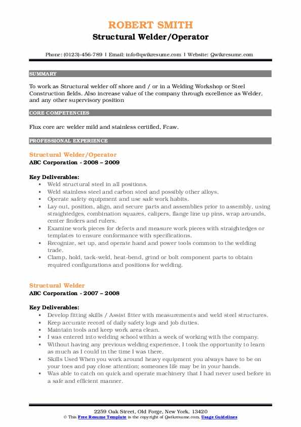 Structural Welder/Operator Resume Template