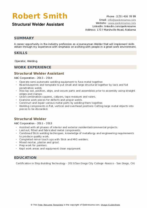 Structural Welder Assistant  Resume Sample