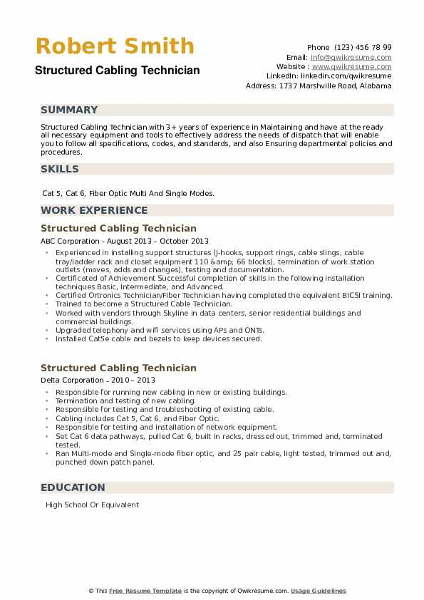Structured Cabling Technician Resume example