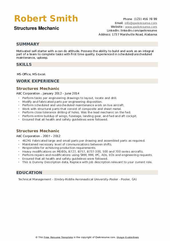 Structures Mechanic Resume example