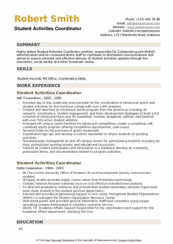 Student Activities Coordinator Resume example
