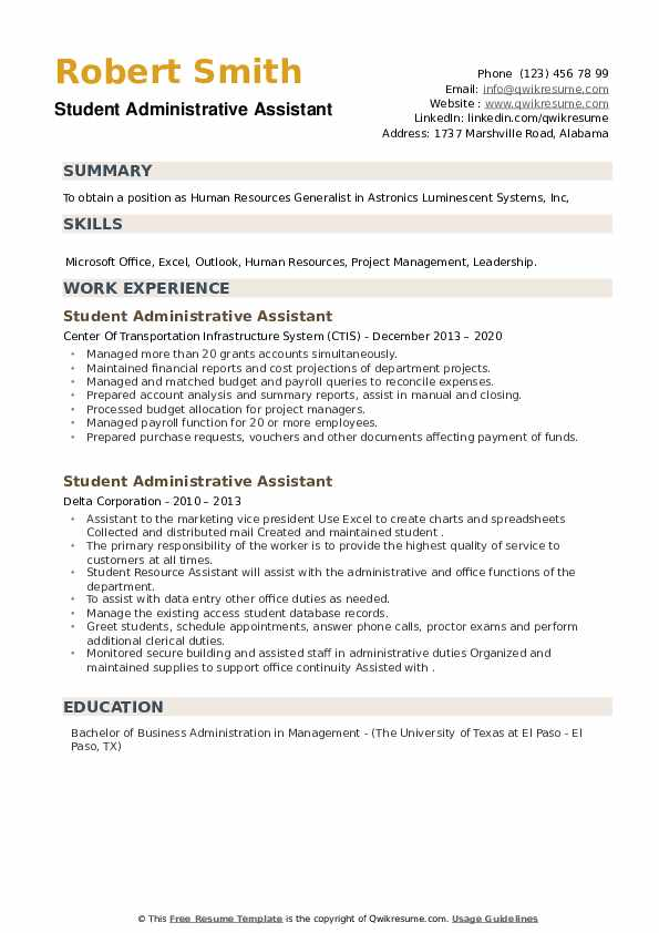Student Administrative Assistant Resume example