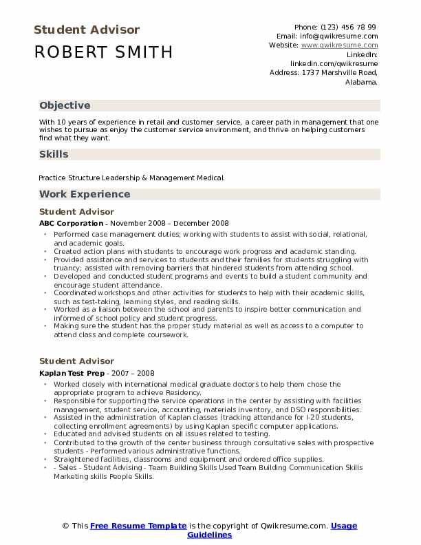 Student Advisor Resume Example