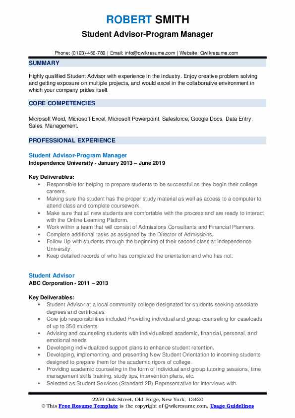 Student Advisor-Program Manager Resume Format