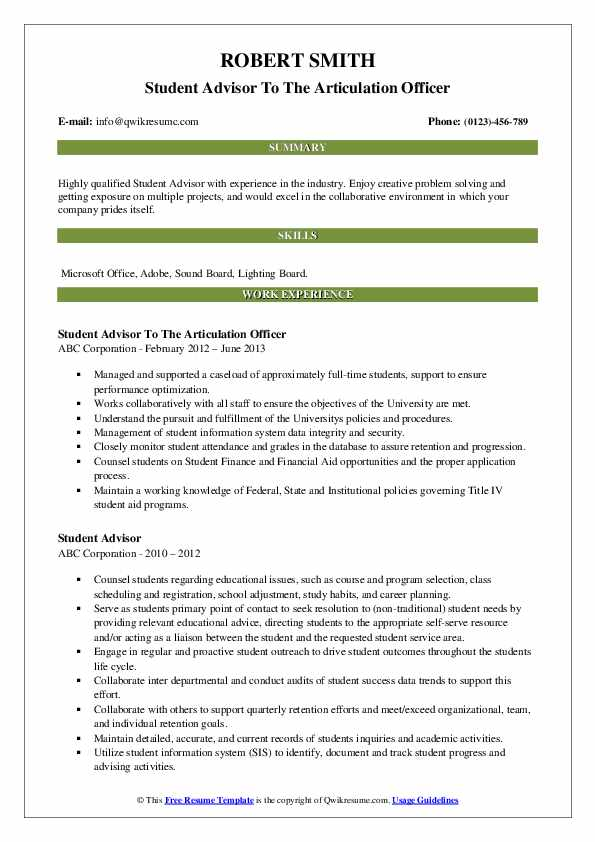 Student Advisor To The Articulation Officer Resume Model