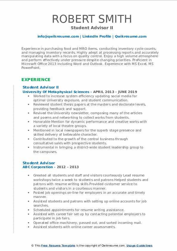 Student Advisor II Resume Model