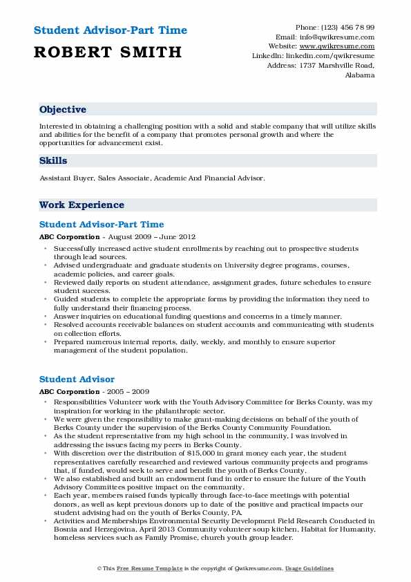 Student Advisor-Part Time Resume Sample