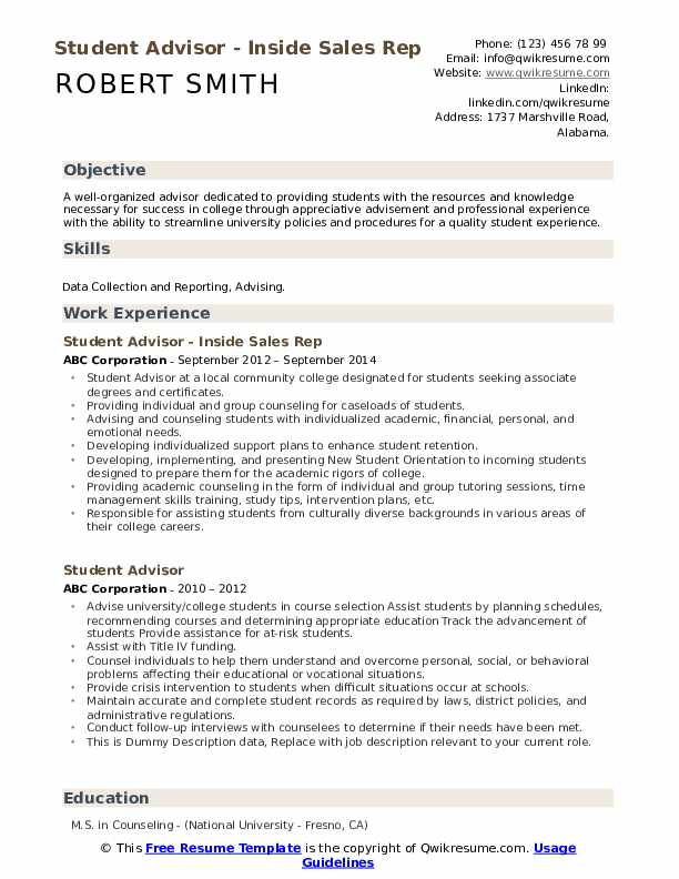 Student Advisor - Inside Sales Rep Resume Template