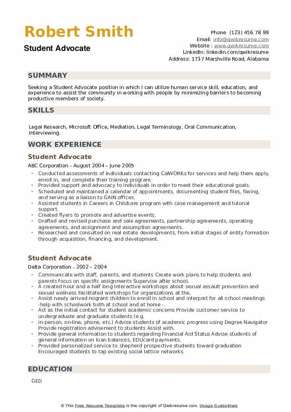Student Advocate Resume example