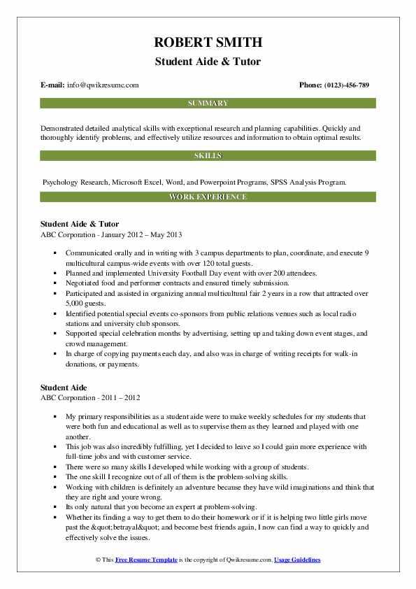 Student Aide & Tutor Resume Model