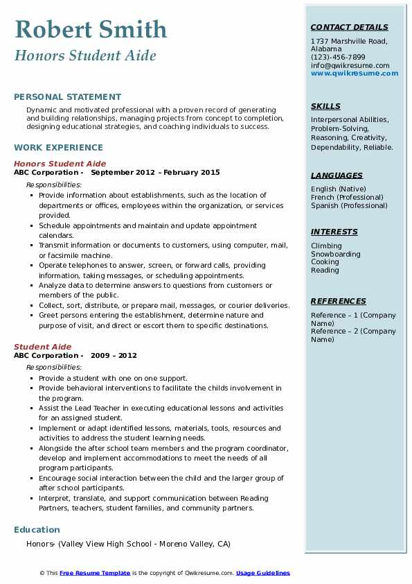 Honors Student Aide Resume Template