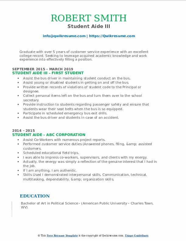 Student Aide III Resume Model