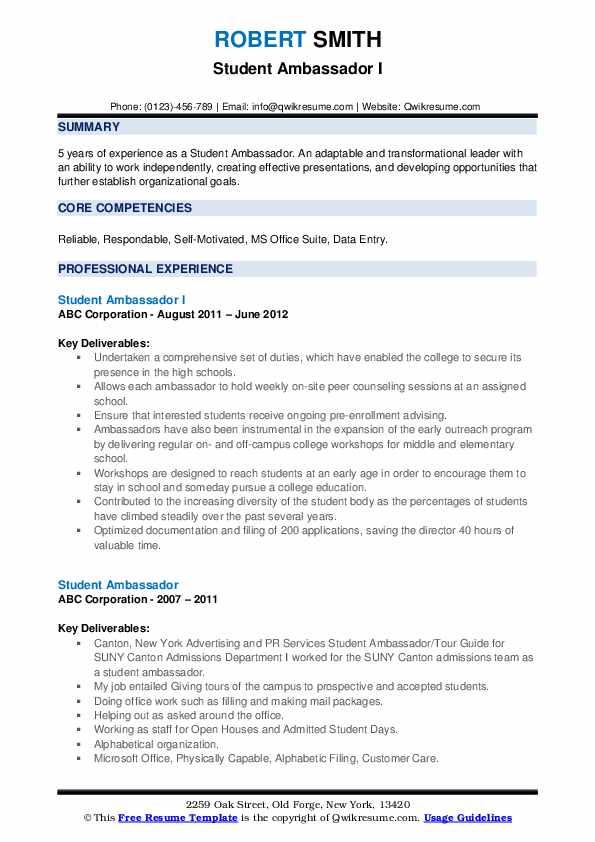 student ambassador resume samples