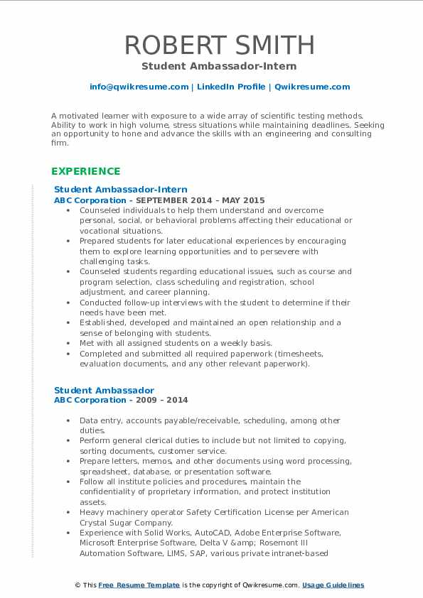 Student Ambassador-Intern Resume Model