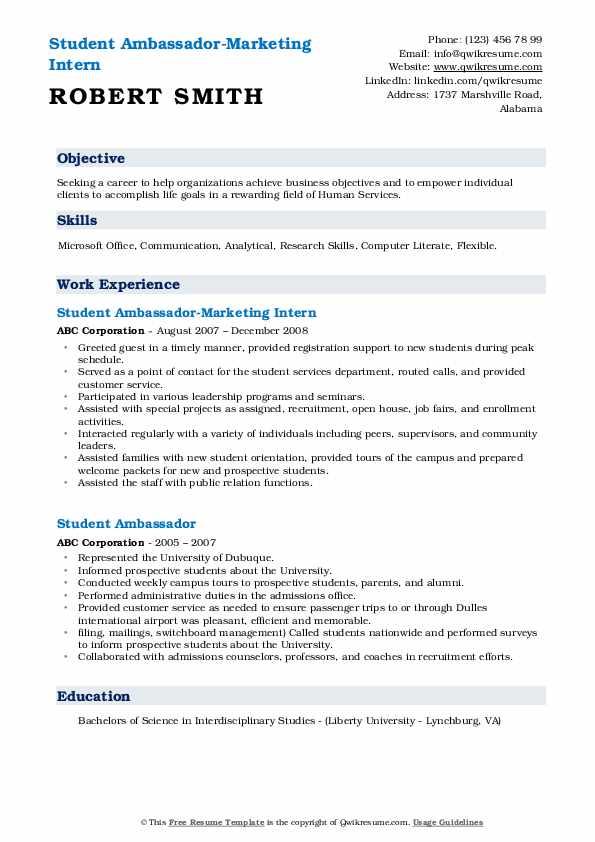 Student Ambassador-Marketing Intern Resume Example