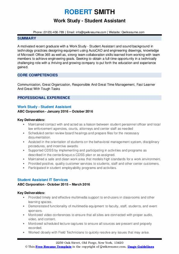 Work Study - Student Assistant Resume Example