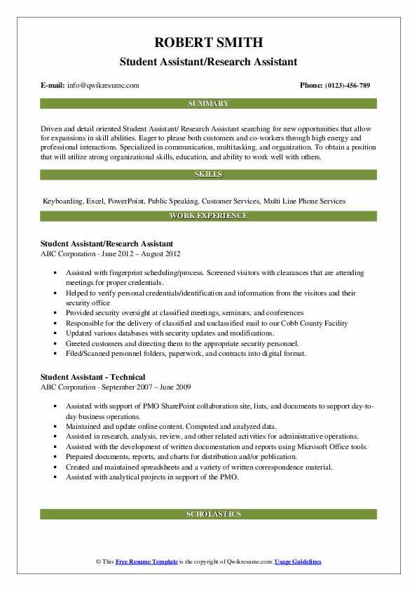 Student Assistant/Research Assistant Resume Model