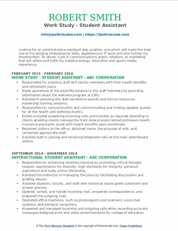 Work Study - Student Assistant Resume Template