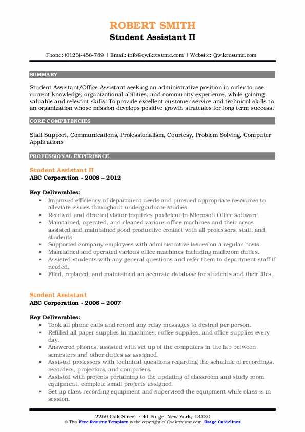Student Assistant II Resume Format