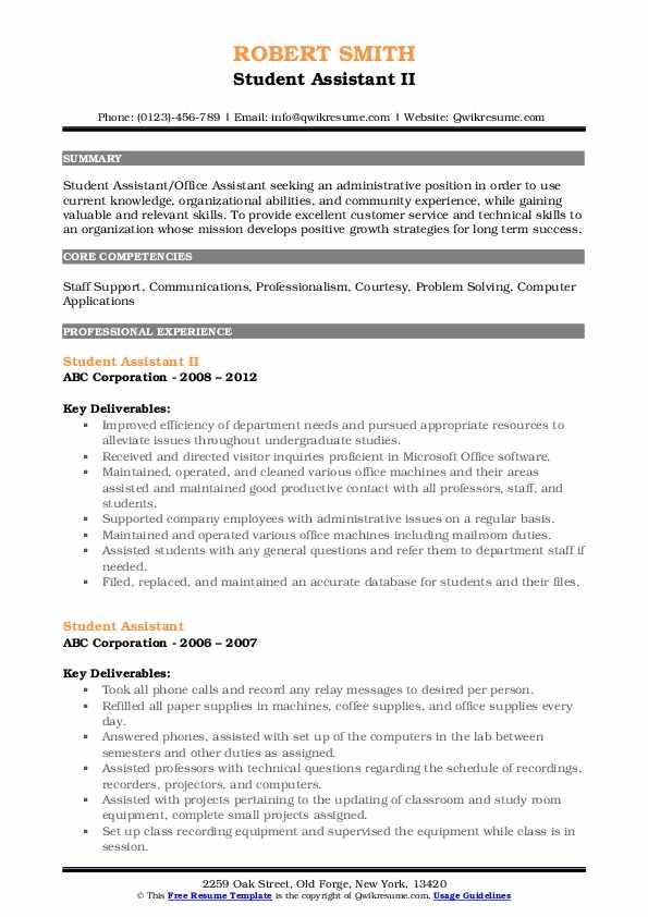 Student Assistant II Resume Sample