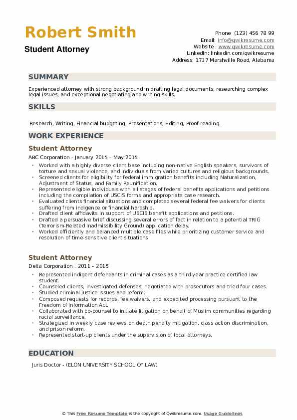 Student Attorney Resume example