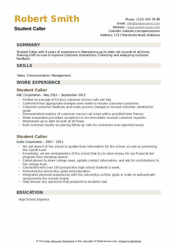 Student Caller Resume example