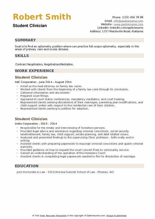 Student Clinician Resume example