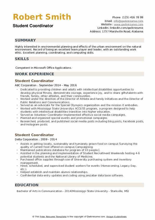 Student Coordinator Resume example
