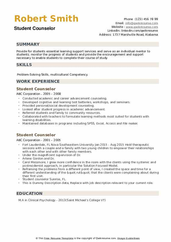 Student Counselor Resume Samples Qwikresume