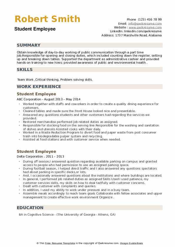 Student Employee Resume example