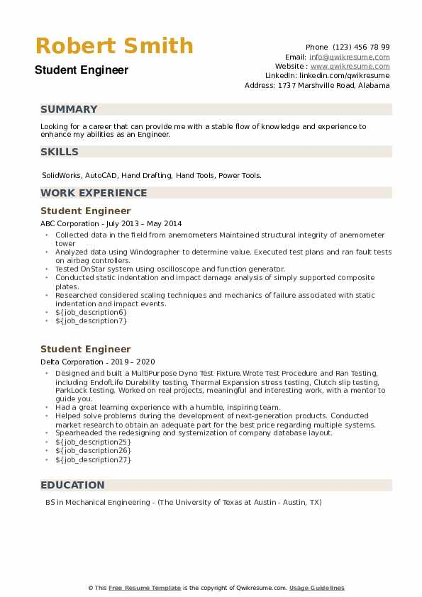 Student Engineer Resume example