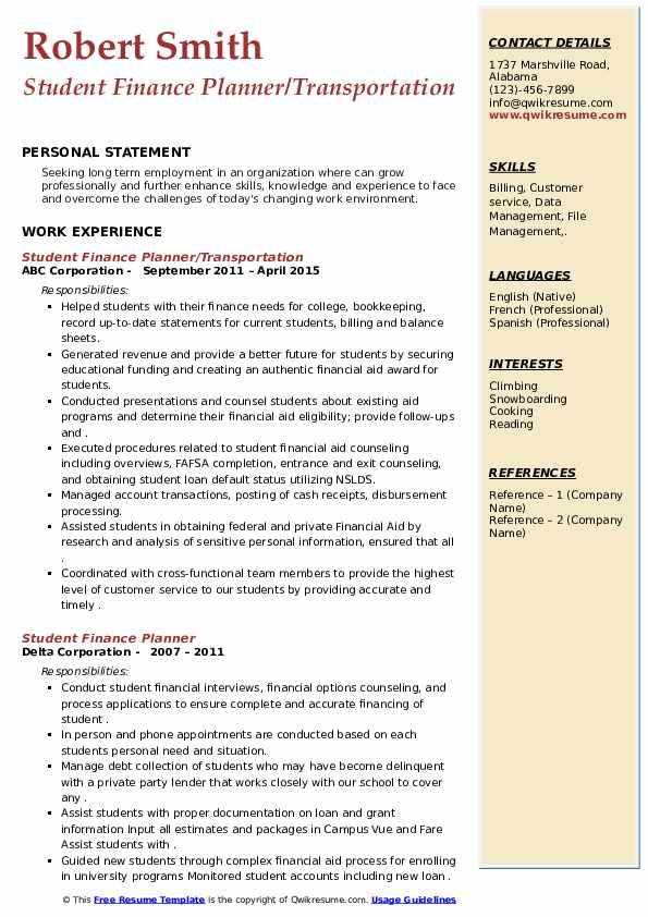 student finance planner resume samples