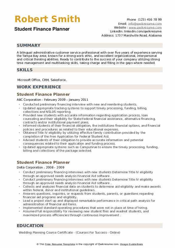 Student Finance Planner Resume example