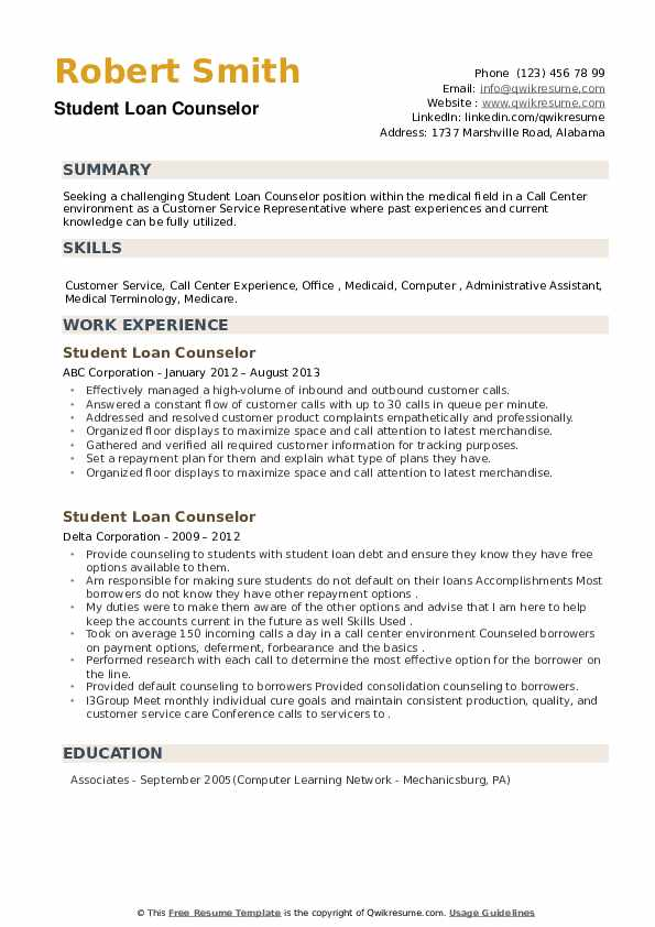 Student Loan Counselor Resume example