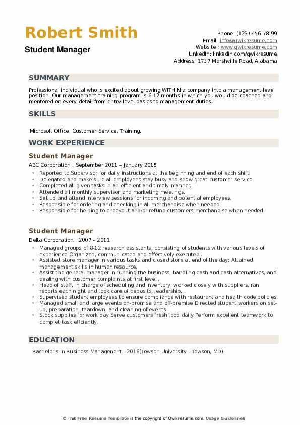 Student Manager Resume example