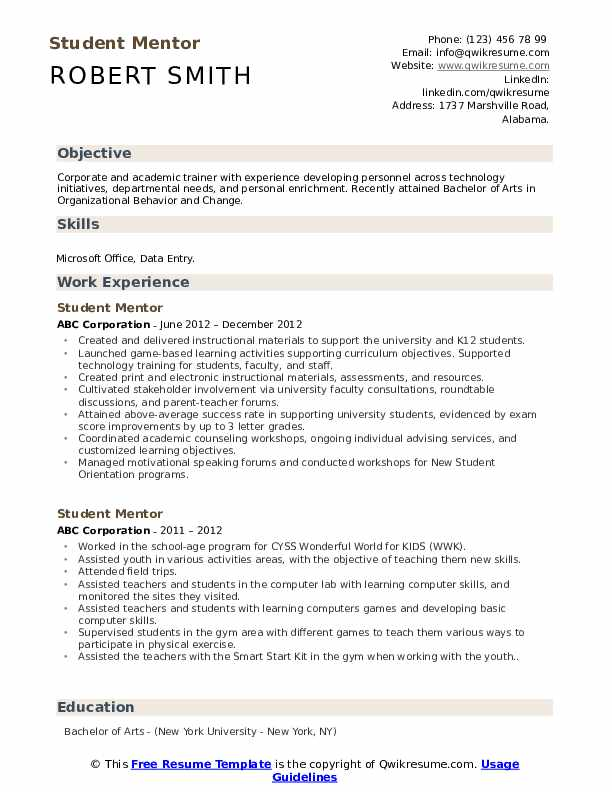 Student Mentor Resume Samples Qwikresume