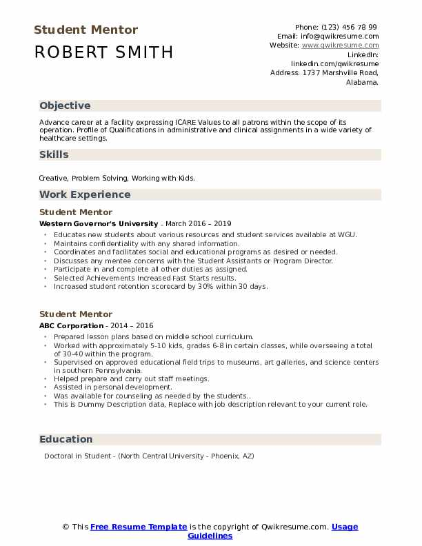 Student Mentor Resume example