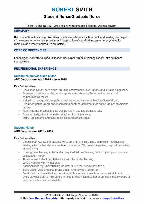 Student Nurse/Graduate Nurse Resume Template