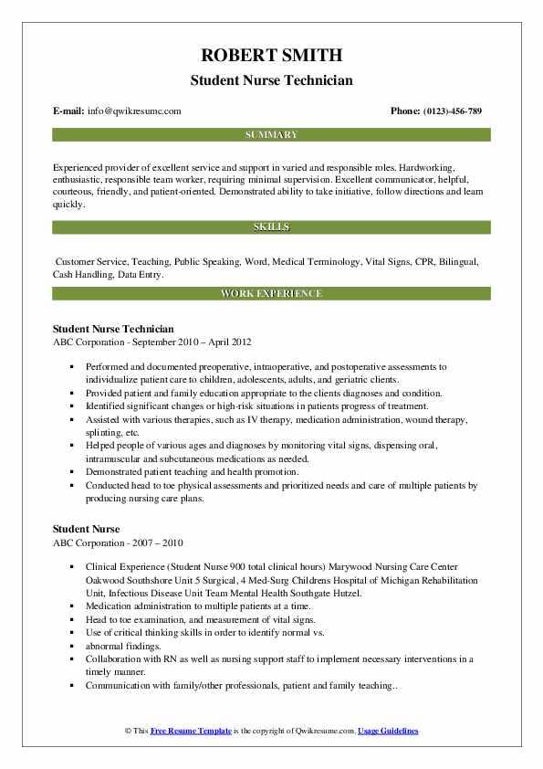Student Nurse Technician Resume Model