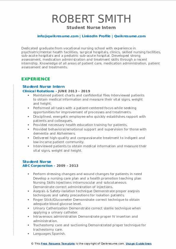 Student Nurse Intern Resume Format